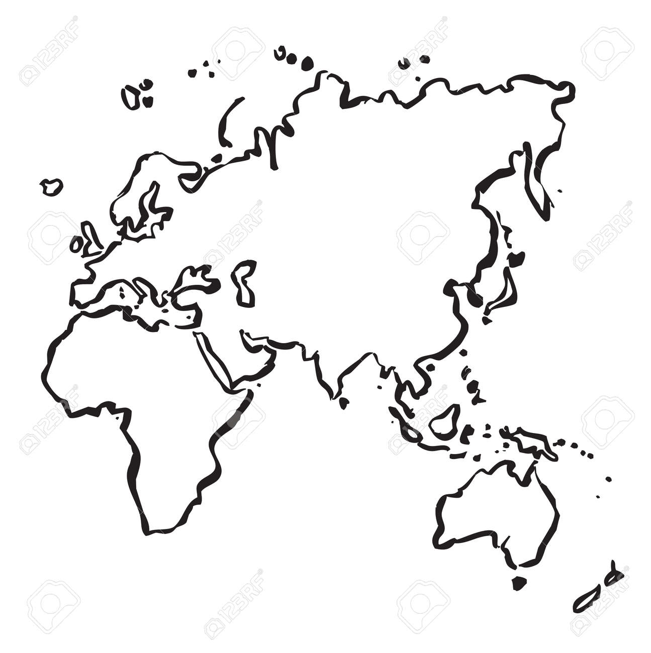 Australia Map In Europe.Outline Map Of Europe Asia Africa And Australia