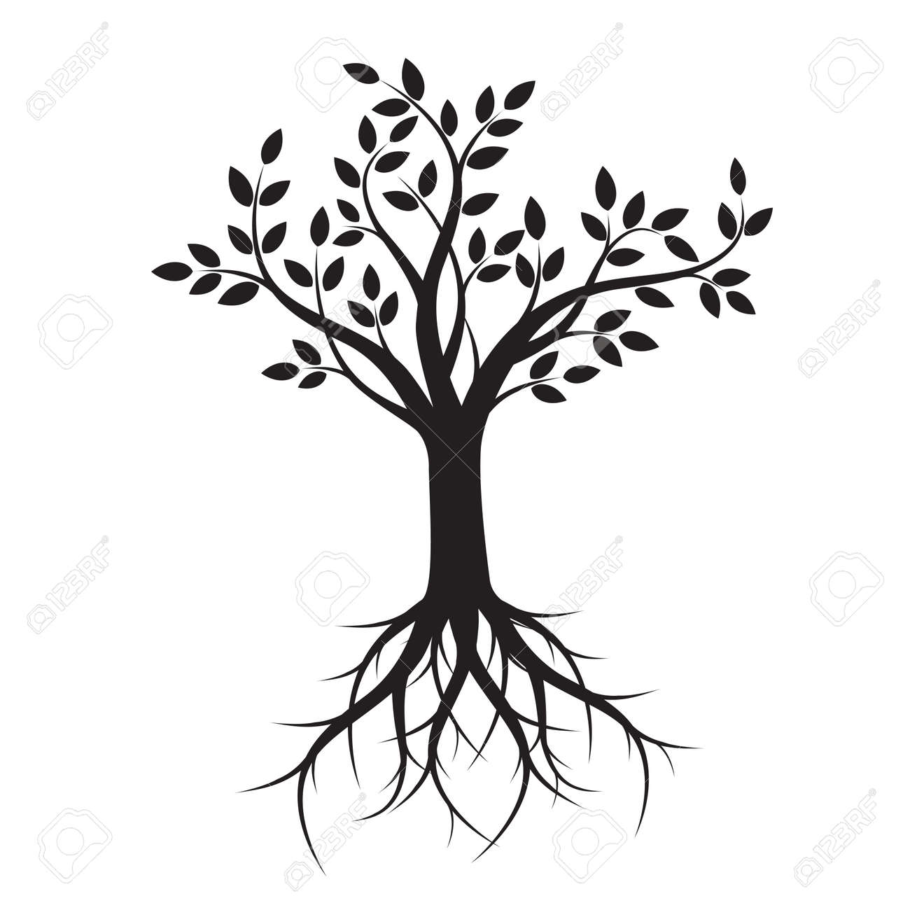 black tree with roots vector illustration royalty free cliparts rh 123rf com transparent tree with roots vector tree roots silhouette vector