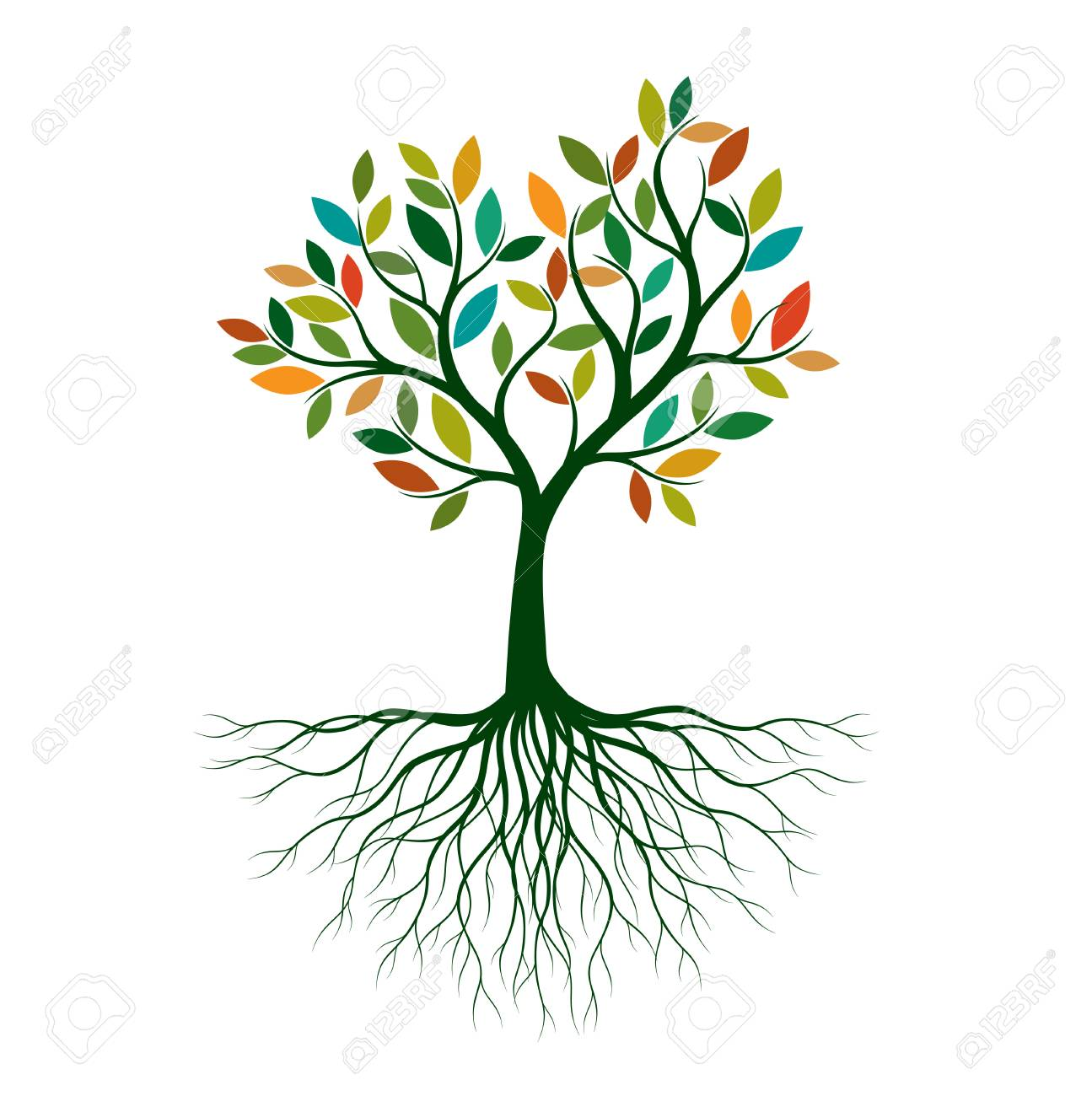 Color Tree of Life with Roots. Vector Illustration. Isolated object. - 123168810