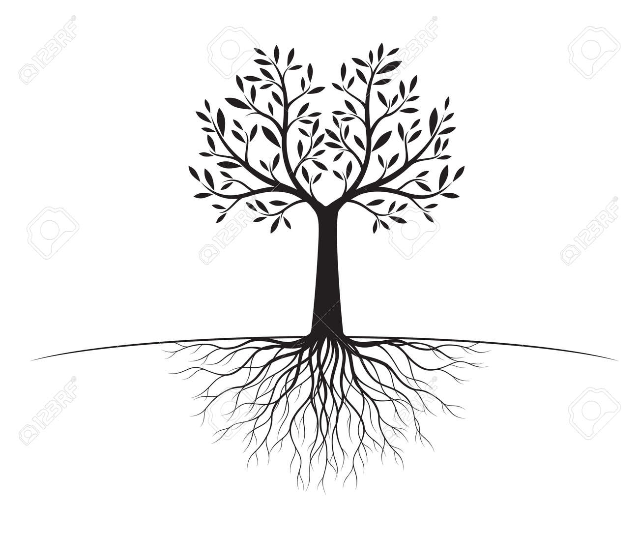Black Tree Of Life With Roots Vector Illustration Isolated