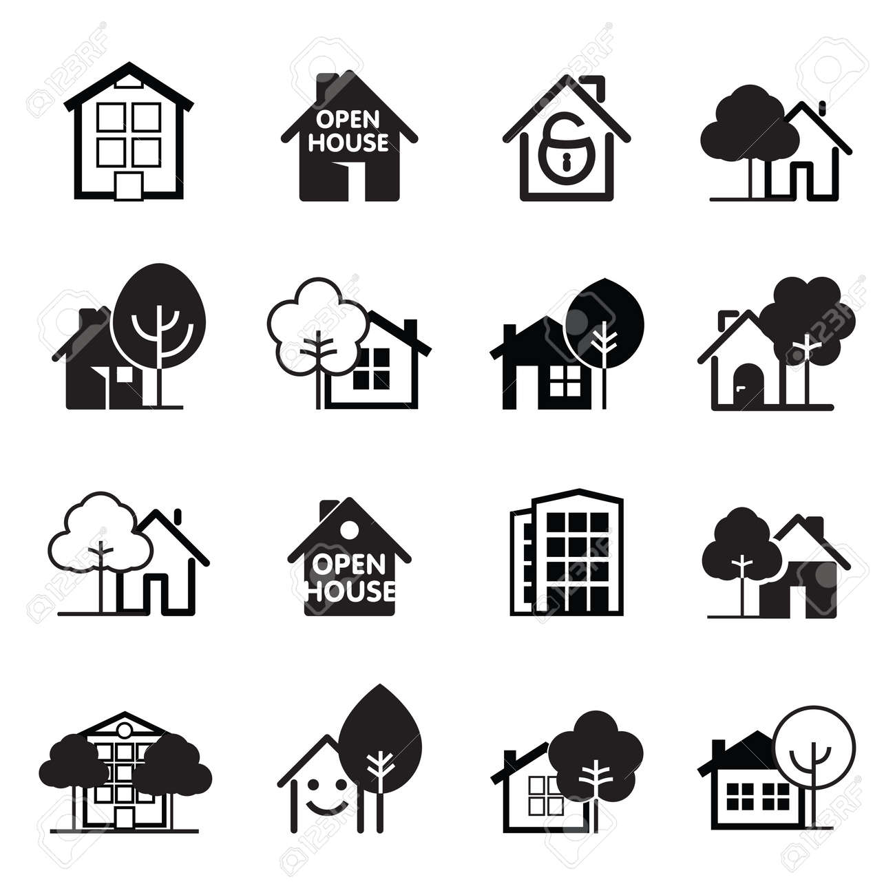 Set of black house icons. Buildings line icons. Vector Illustration. - 129002586