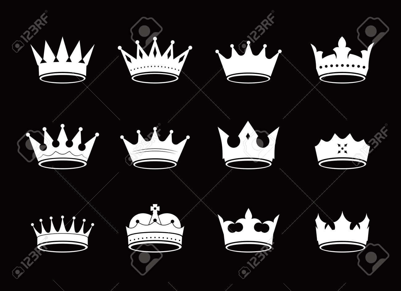Set of vector king crowns and icon on black background. Vector Illustration. Emblem and royal symbols. - 131423204