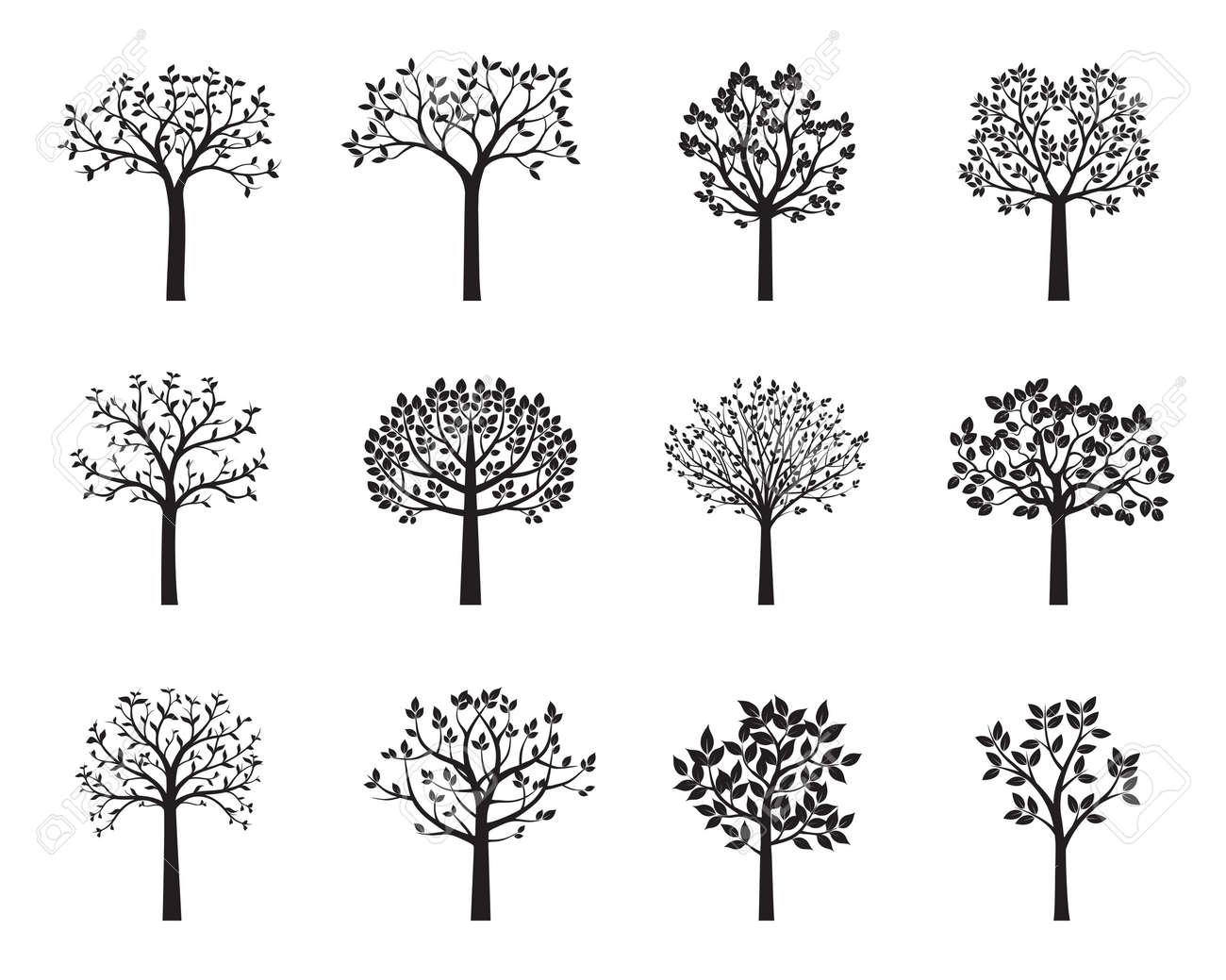 Set of black vector trees. Shape of plants. Vector Illustration. - 137440354