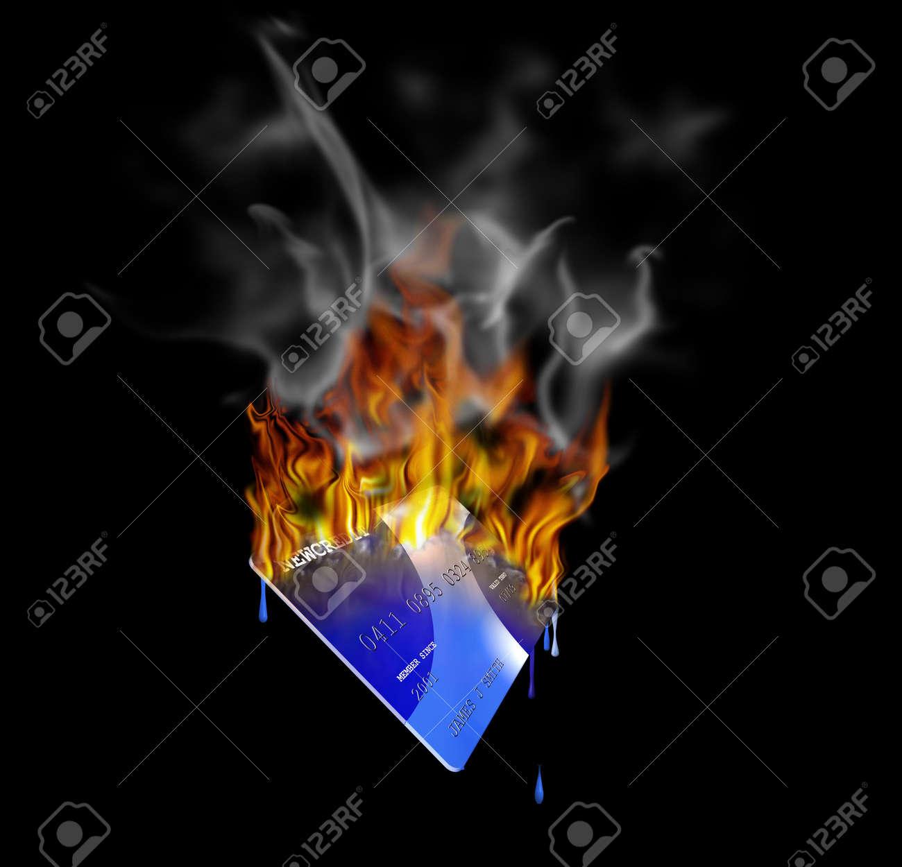 A burning credit card Stock Photo - 539645