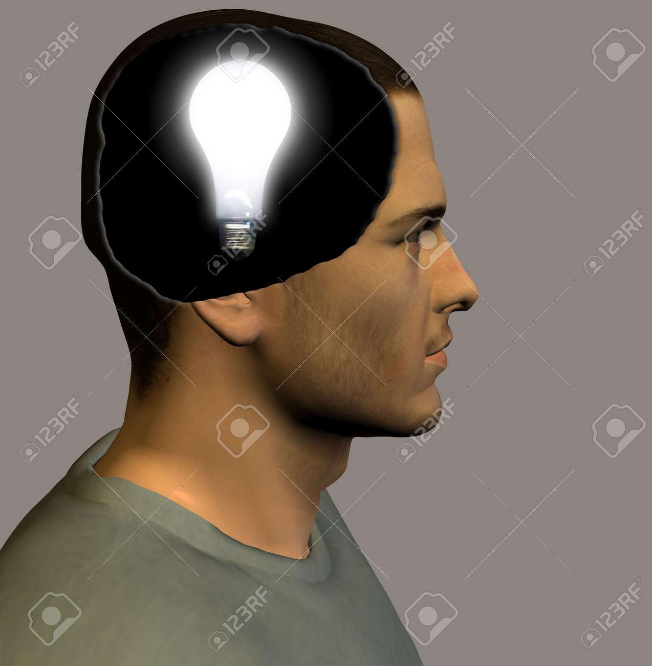 Idea bulb inside head Stock Photo - 830074