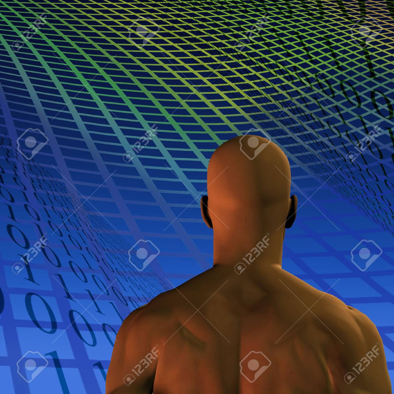 A man, binary code and grid Stock Photo - 834719