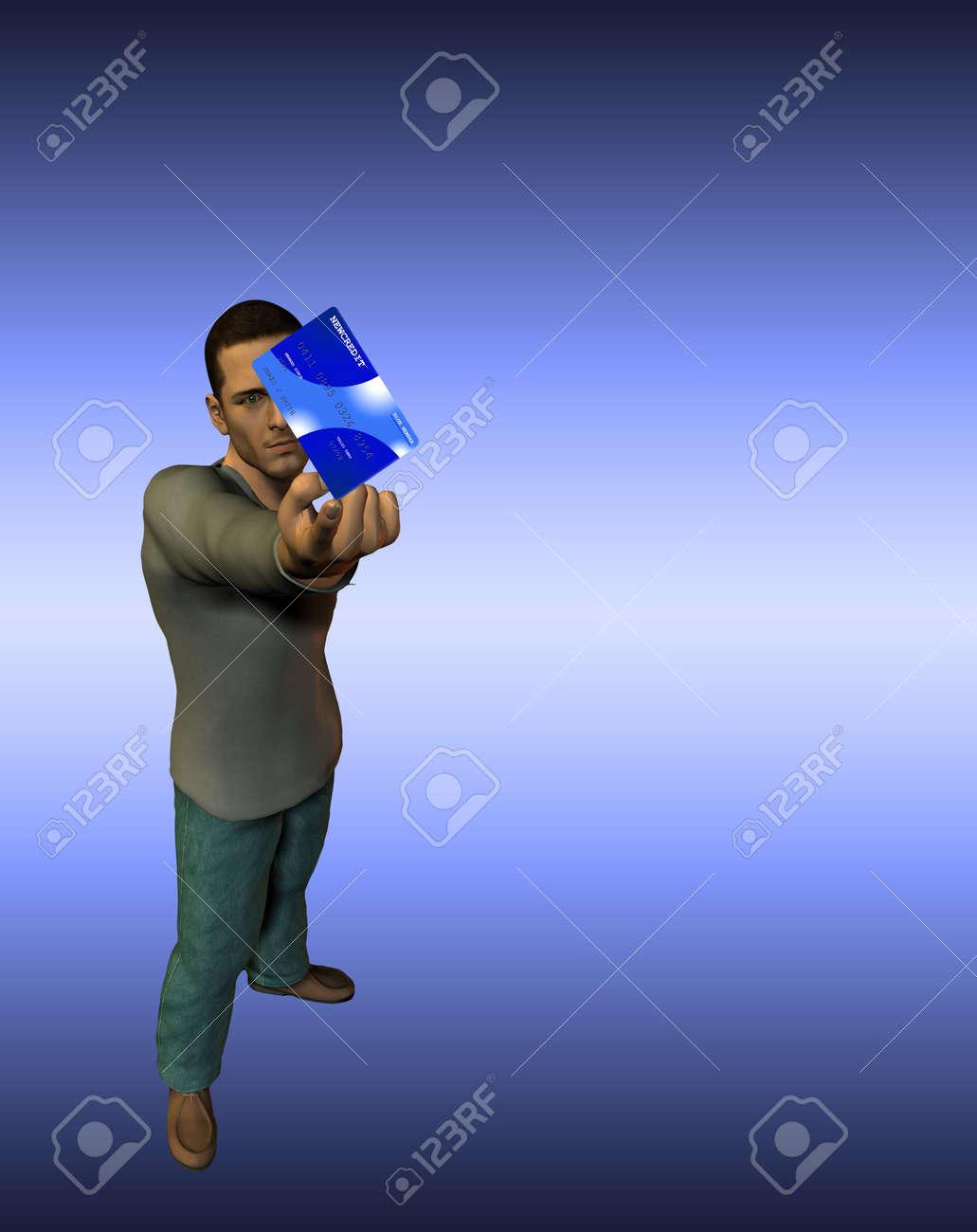 Man balances credit card Stock Photo - 874853