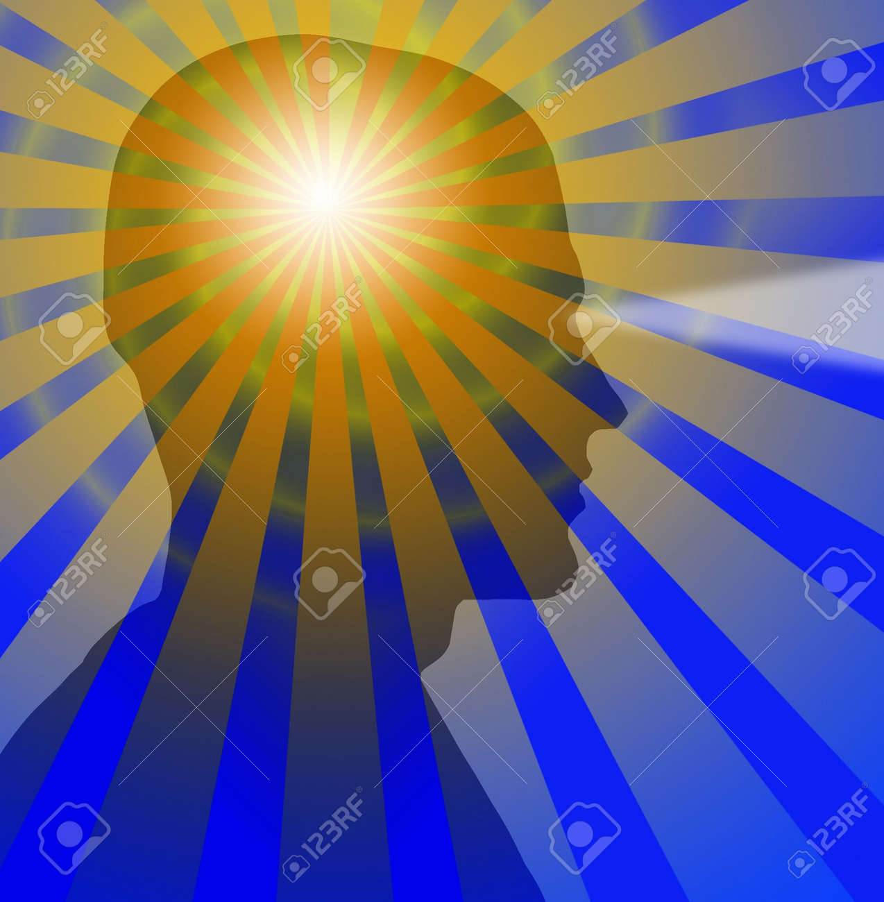 Beams radiate from a sillouette of a head Stock Photo - 874919