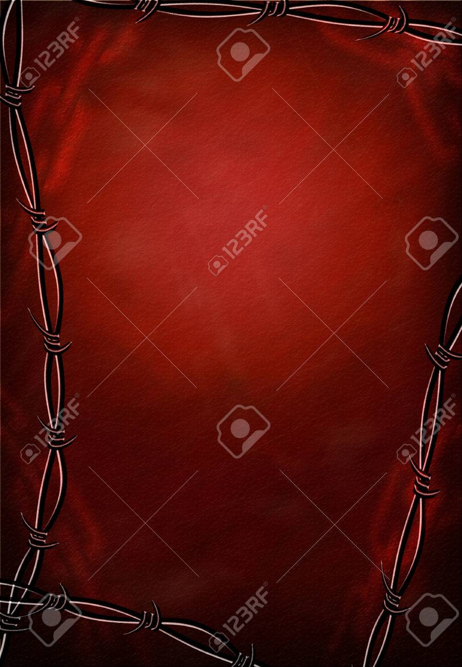 Hi-Res Barbed Wire and Chains Grunge Frame Stock Photo - 1365644