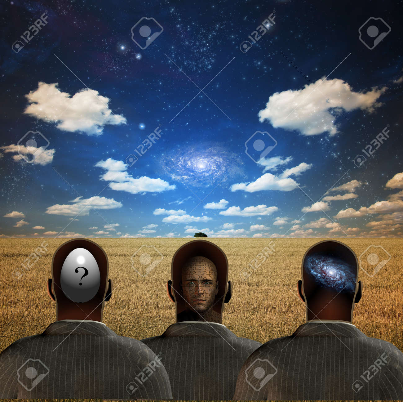 Three figures in field Stock Photo - 4139185