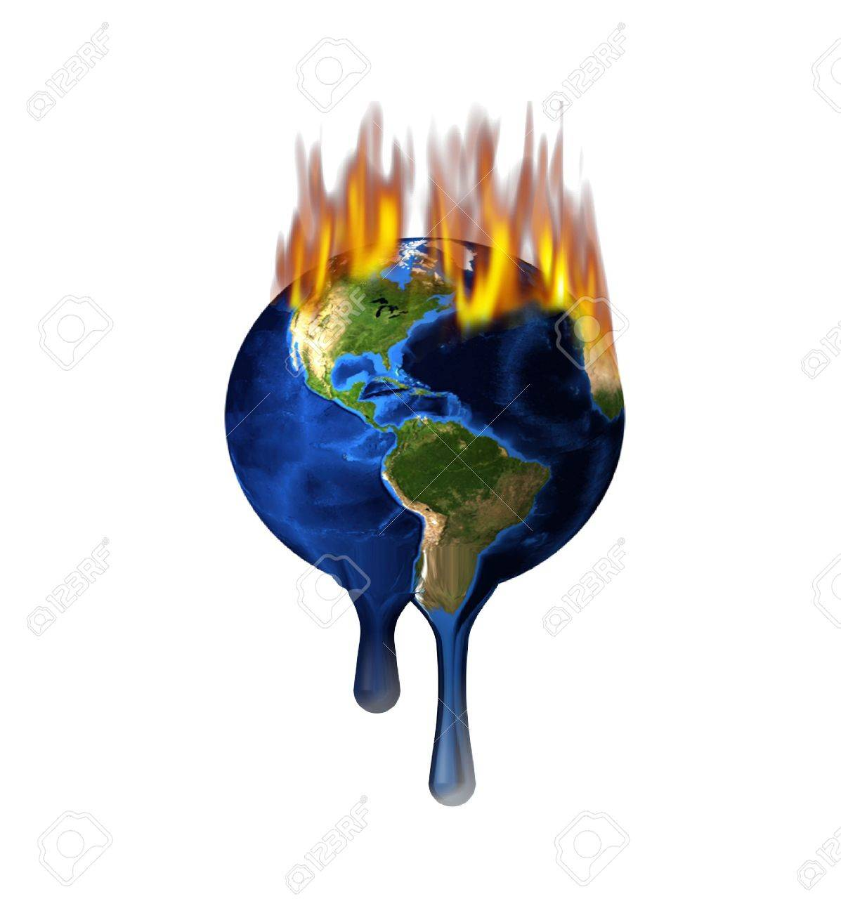Melting Burning Earth Isolated on White Stock Photo - 4802061