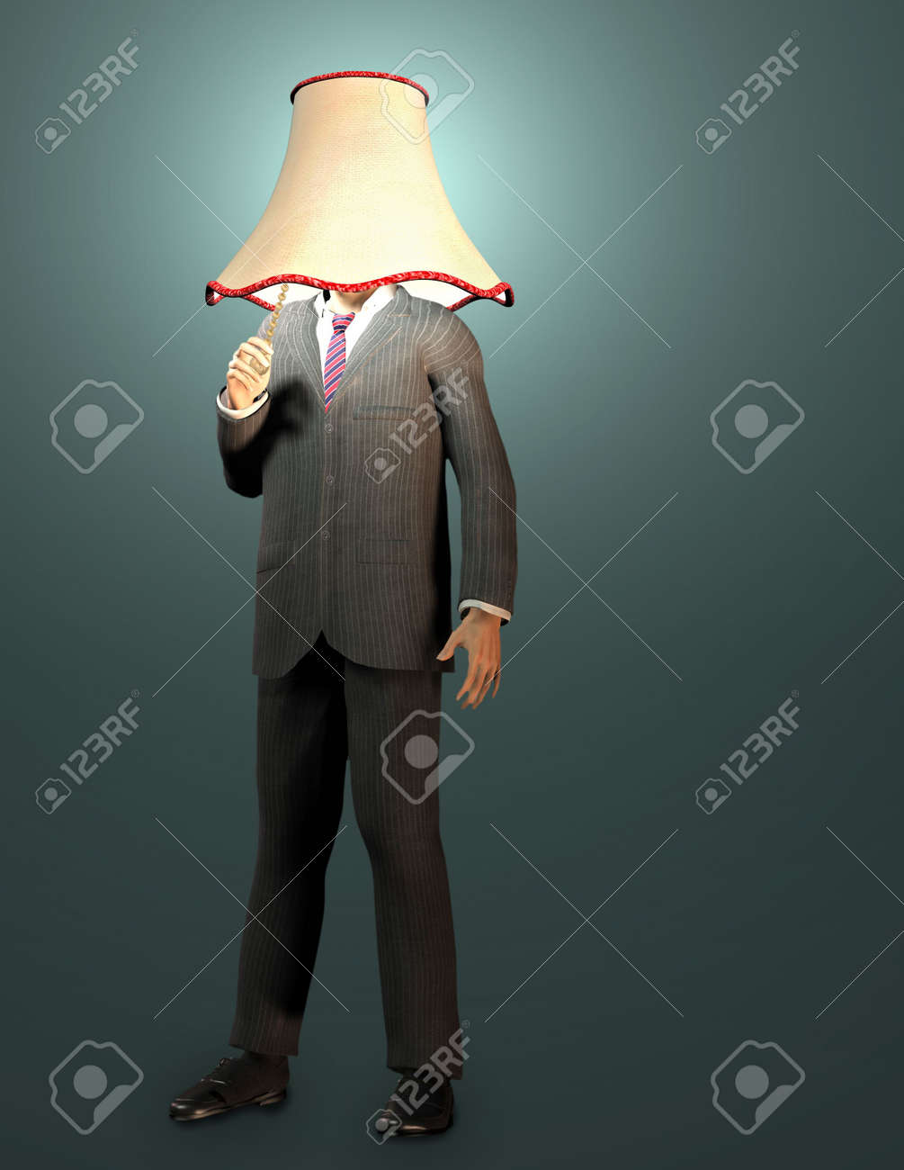 Bussinessman with lamp shade and pull switch Stock Photo - 5548378