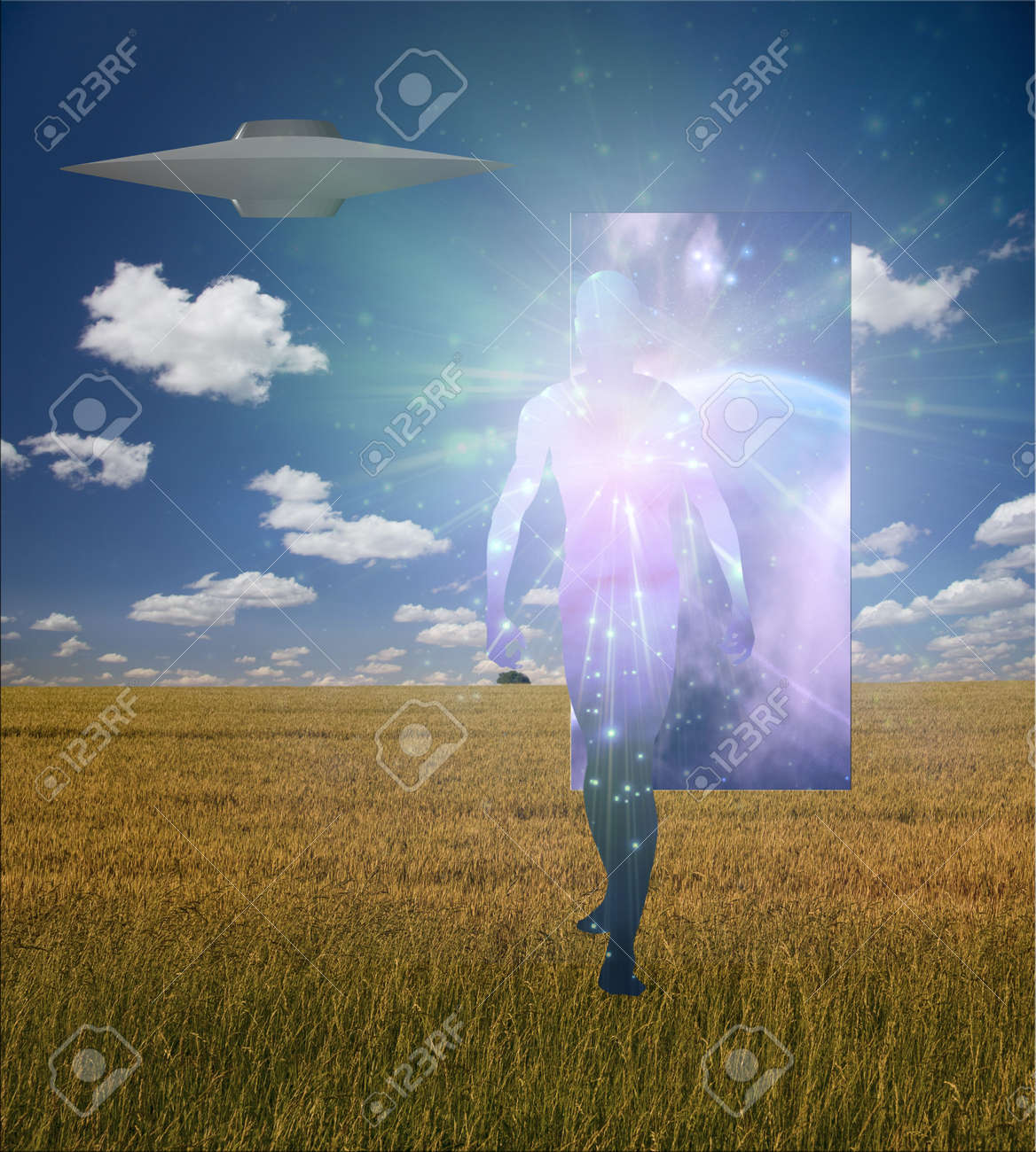Man Emerges from doorway in landscape accompained by alien craft Stock Photo - 6039403