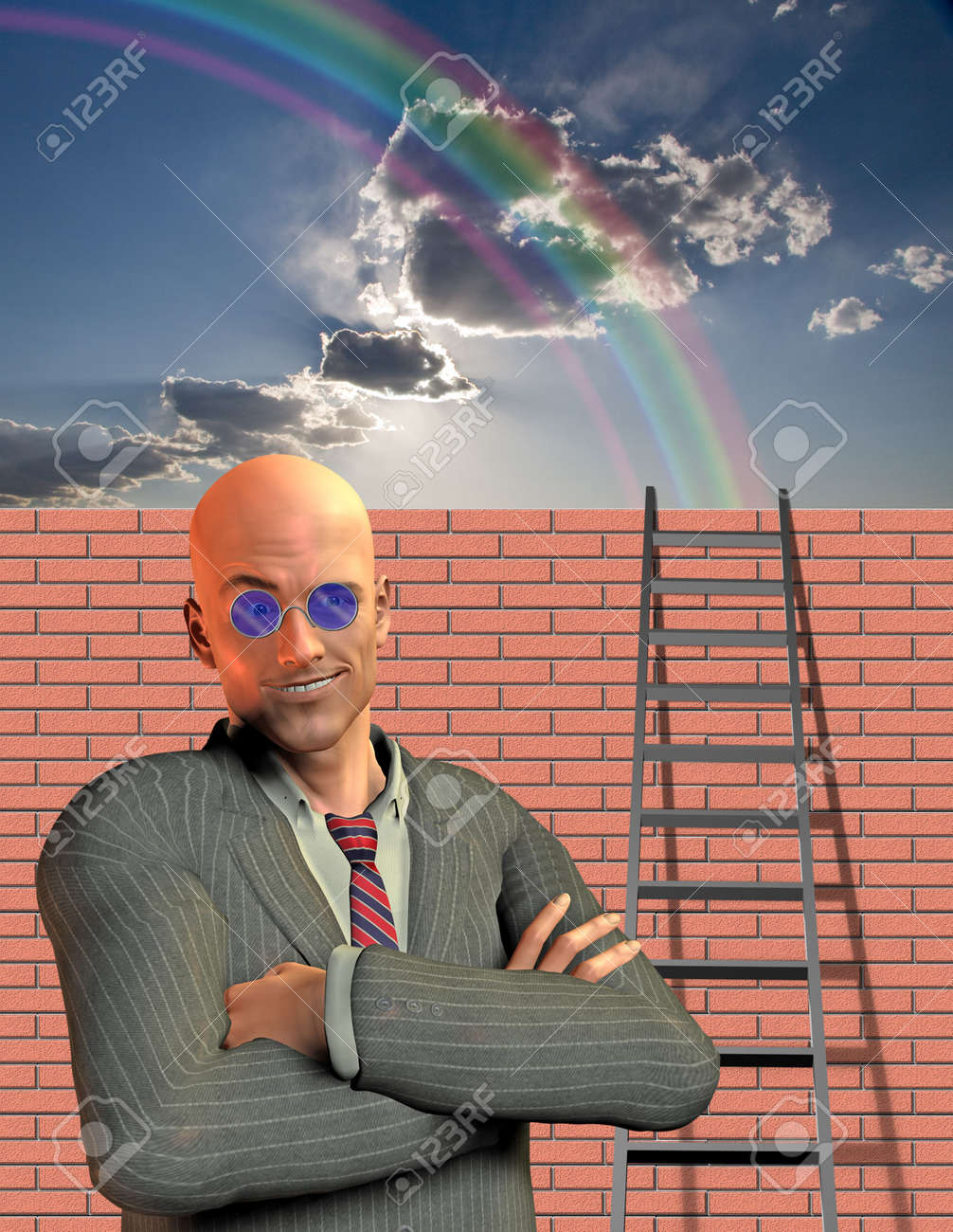 Man stands before wall with ladder Stock Photo - 6159906