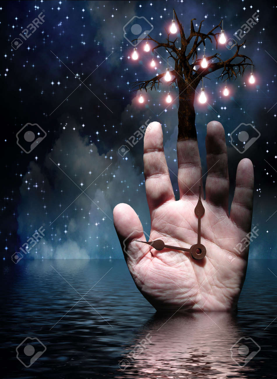 Hands of Time Tree of Light Stock Photo - 6525353