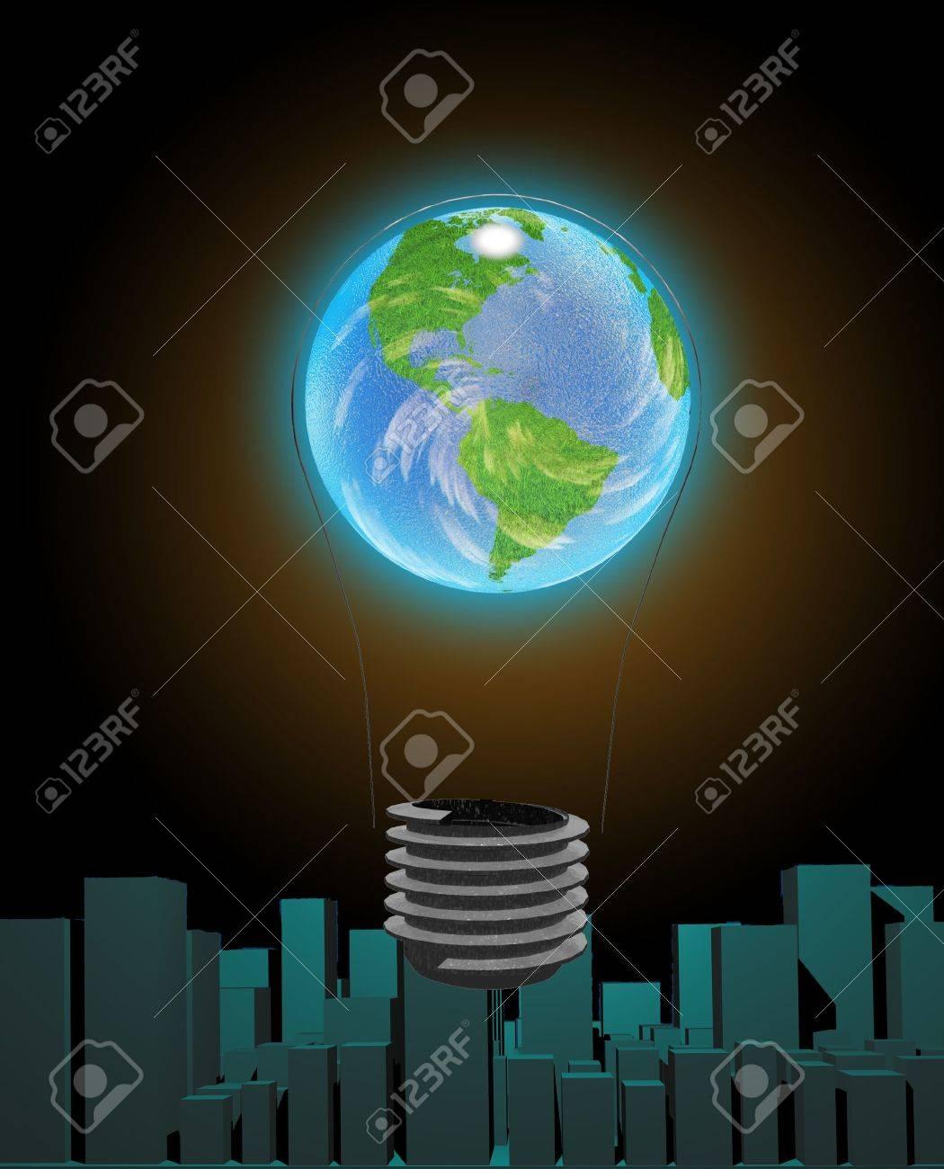 Light Bulb Earth and city Stock Photo - 6577596