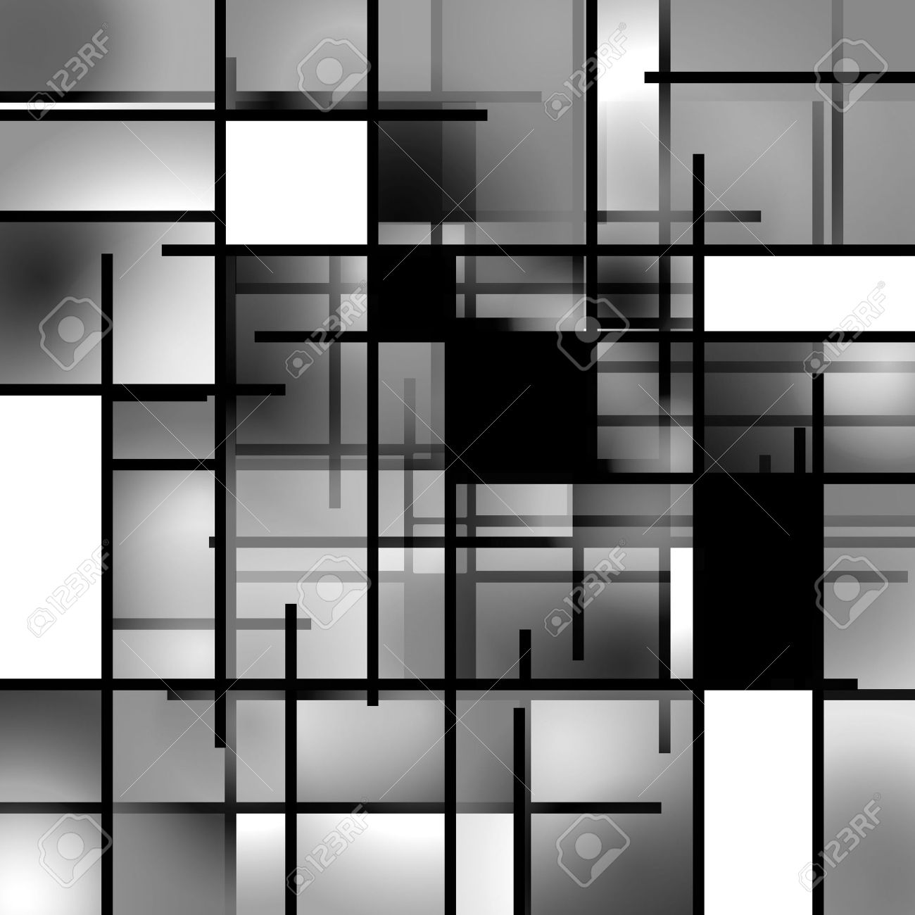Black And White Rectangular Modern Art Background Composition ...