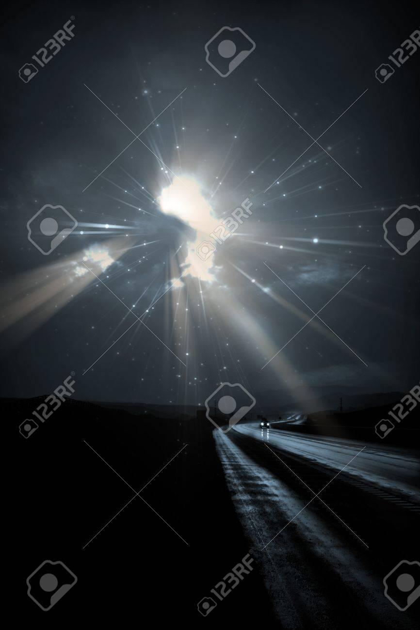 Single car travels on dark road Stock Photo - 7323453