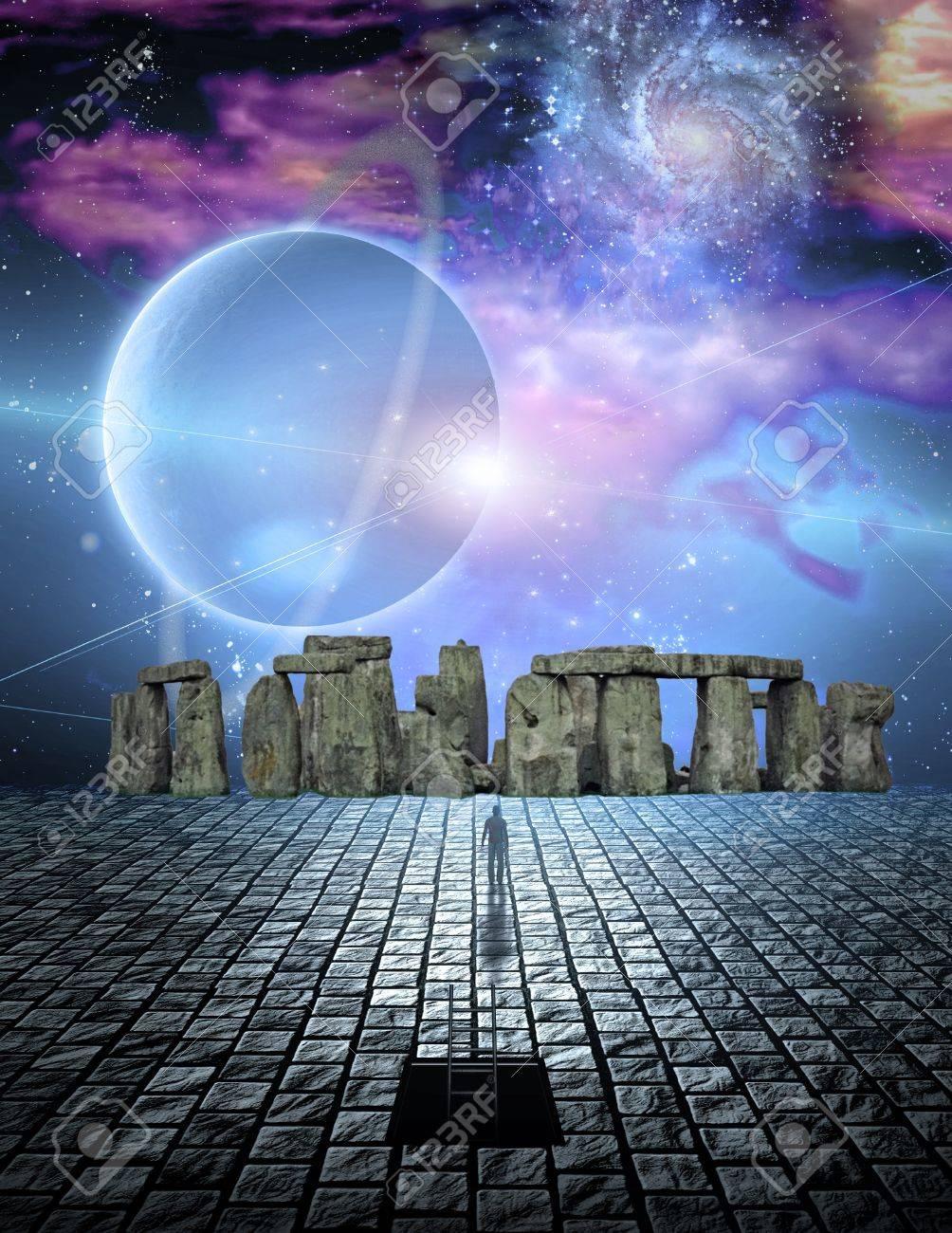 Stone structure in sci fi ike scene Stock Photo - 7652687