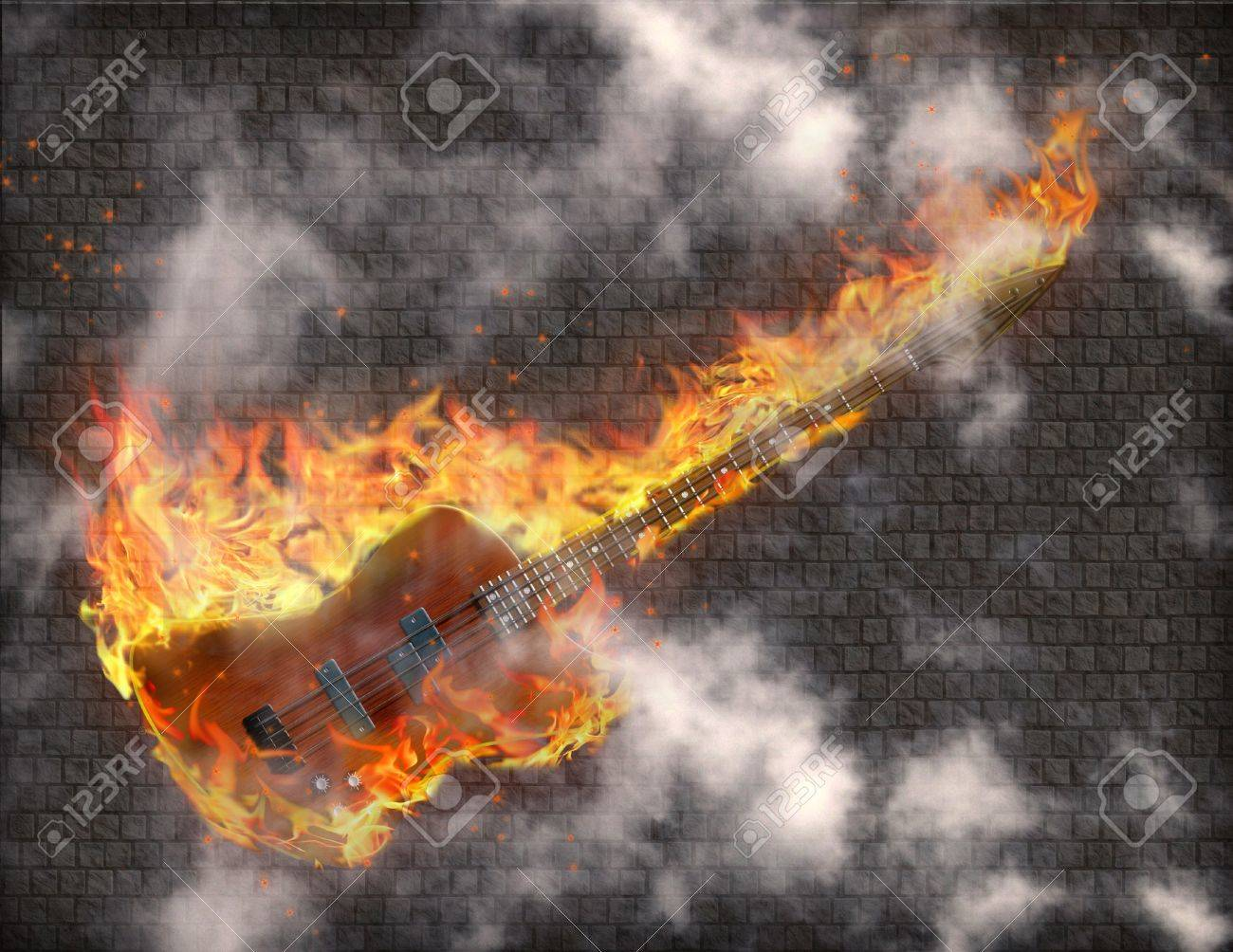 Burning Guitar with smoke against grungy stone wall Stock Photo - 7869861