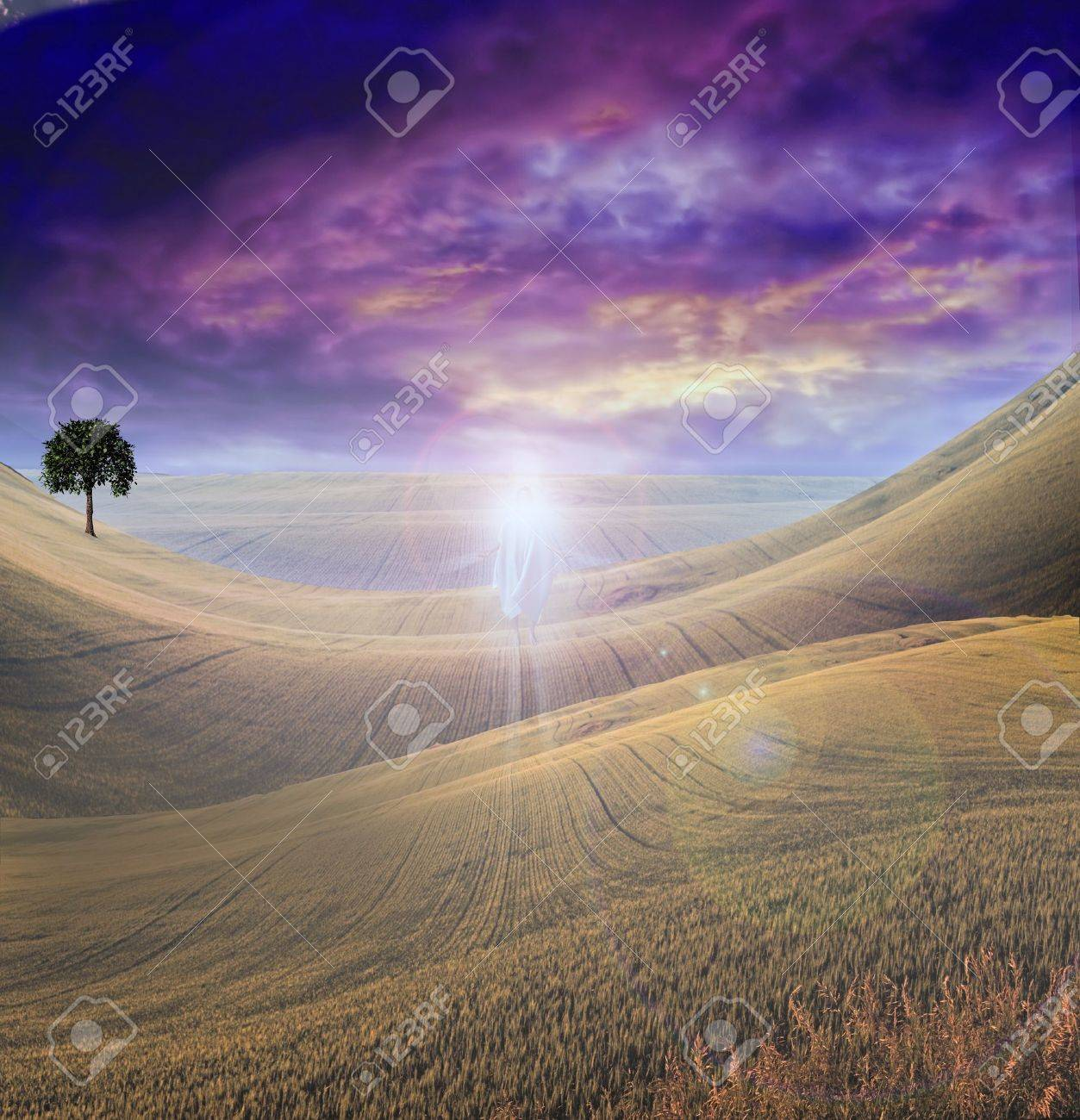 Figure of Light Appears in Sky over Beautiful Landscape Stock Photo - 8057961