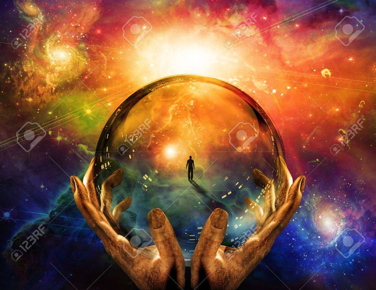 Hands hold glass sphere with view of man Stock Photo - 8836821