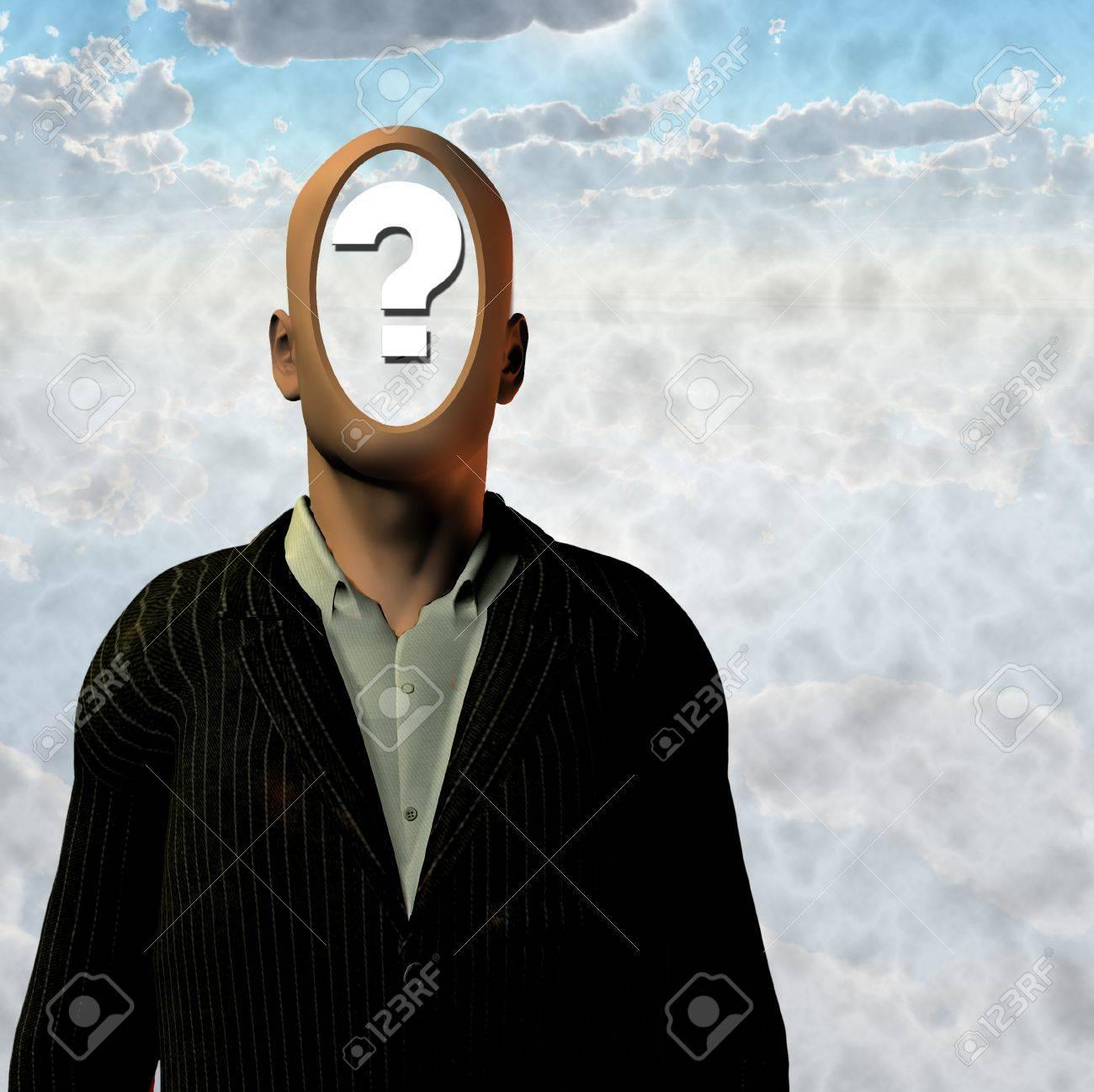 Hombre con signo de interrogación dentro de cabeza Foto de archivo - 8837731