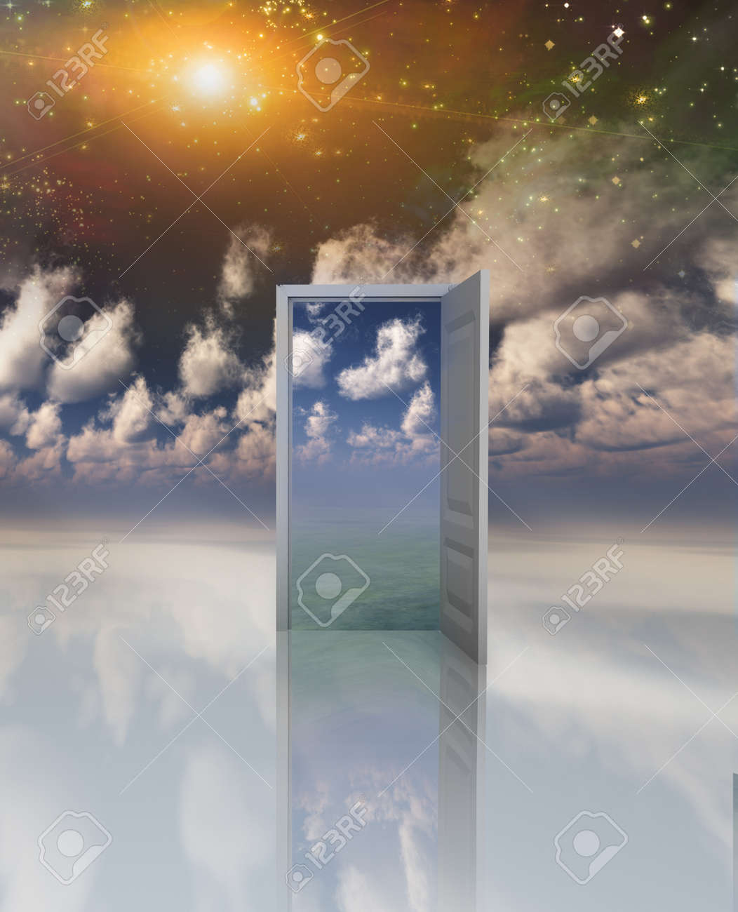 Doorway in serene space opens into other realm Stock Photo - 9222922