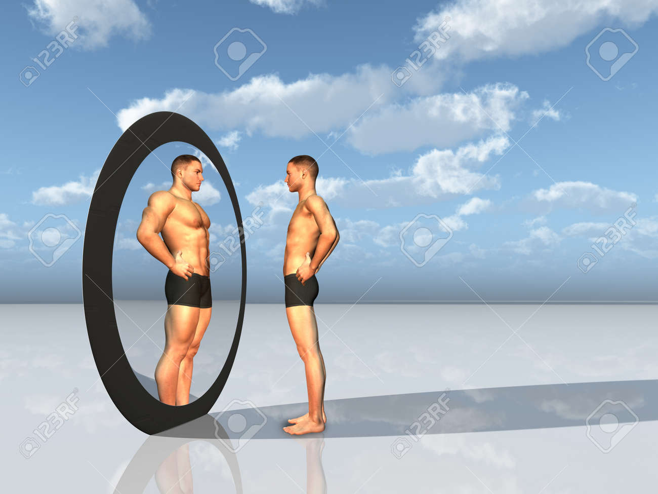 Man sees other self in  mirror Stock Photo - 9654757