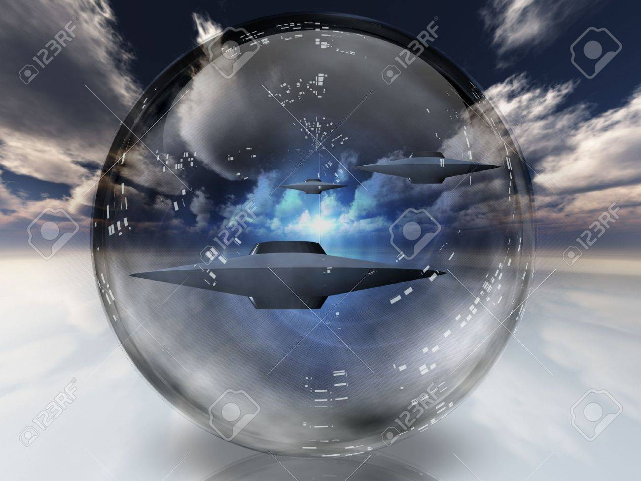 UFOs in clear sphere Stock Photo - 9772293