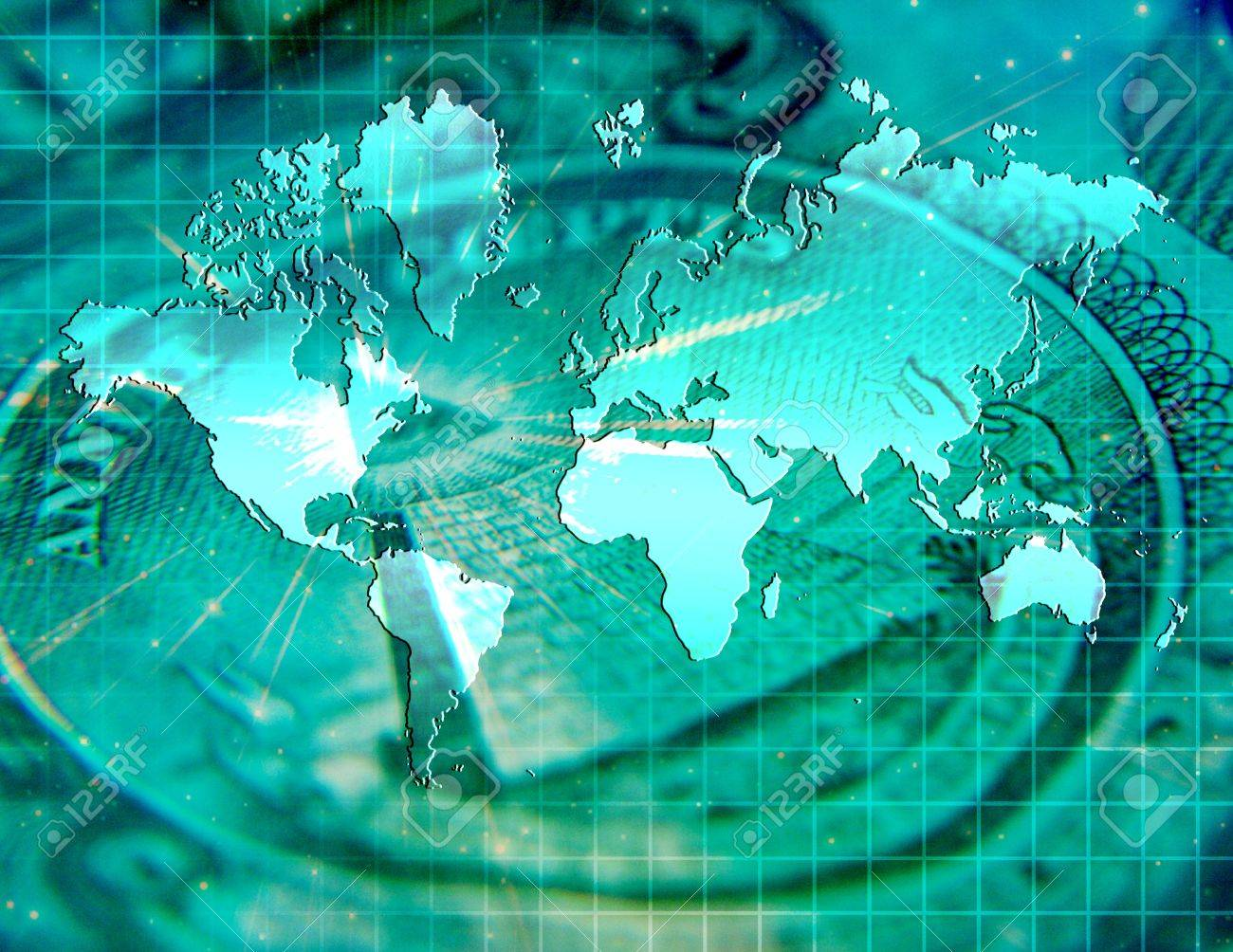 Global Business With Us Currency And Map Of The World Stock Photo 9772430