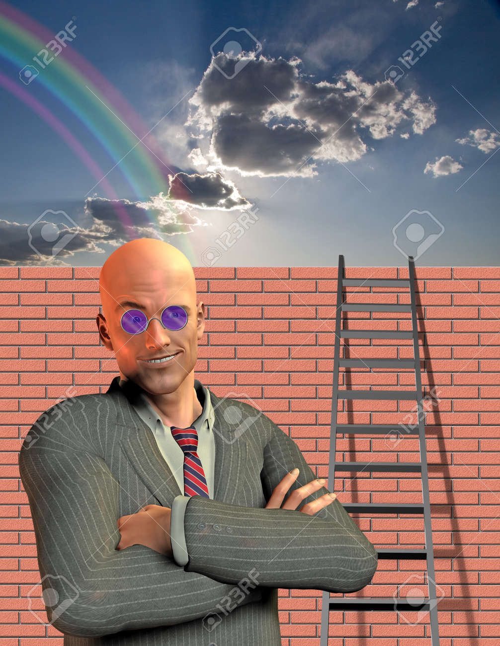 Man stands before wall with ladder Stock Photo - 10056280