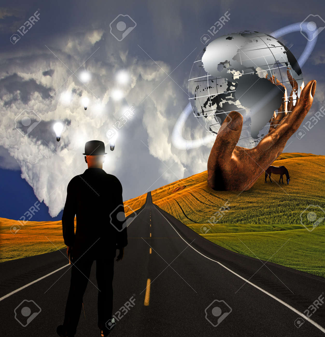 Man with ideas in landscape with sculpture Stock Photo - 10056383