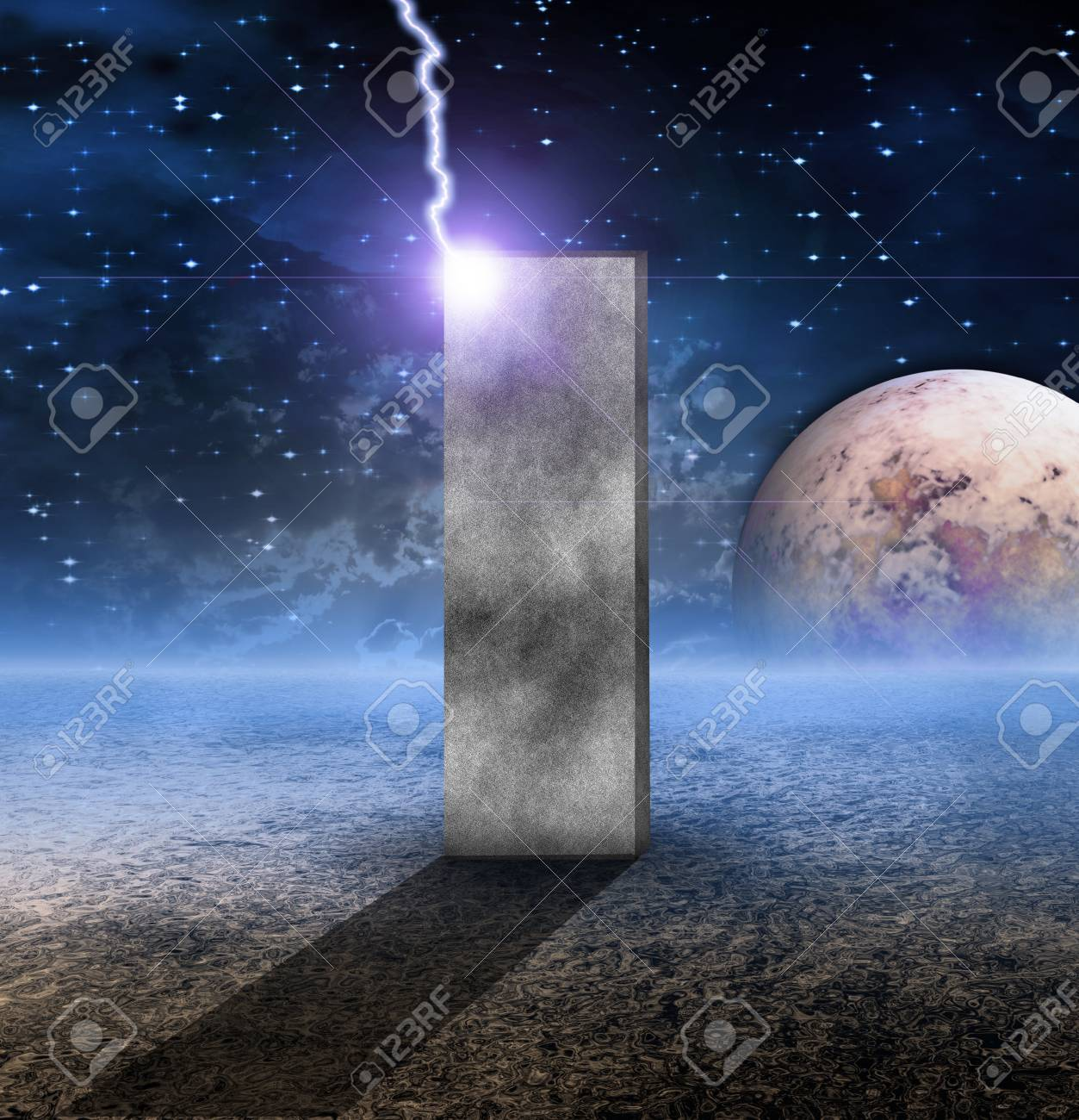 Monolith on Lifeless Planet Stock Photo - 10056482
