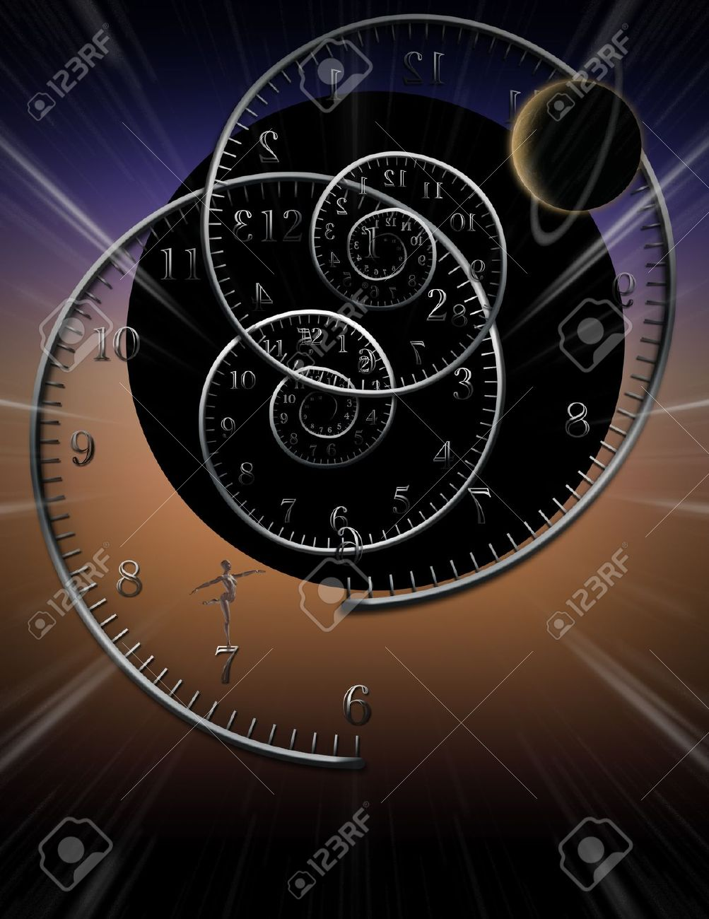 Spiral Clocks And Space Time Stock Photo Picture And Royalty Free
