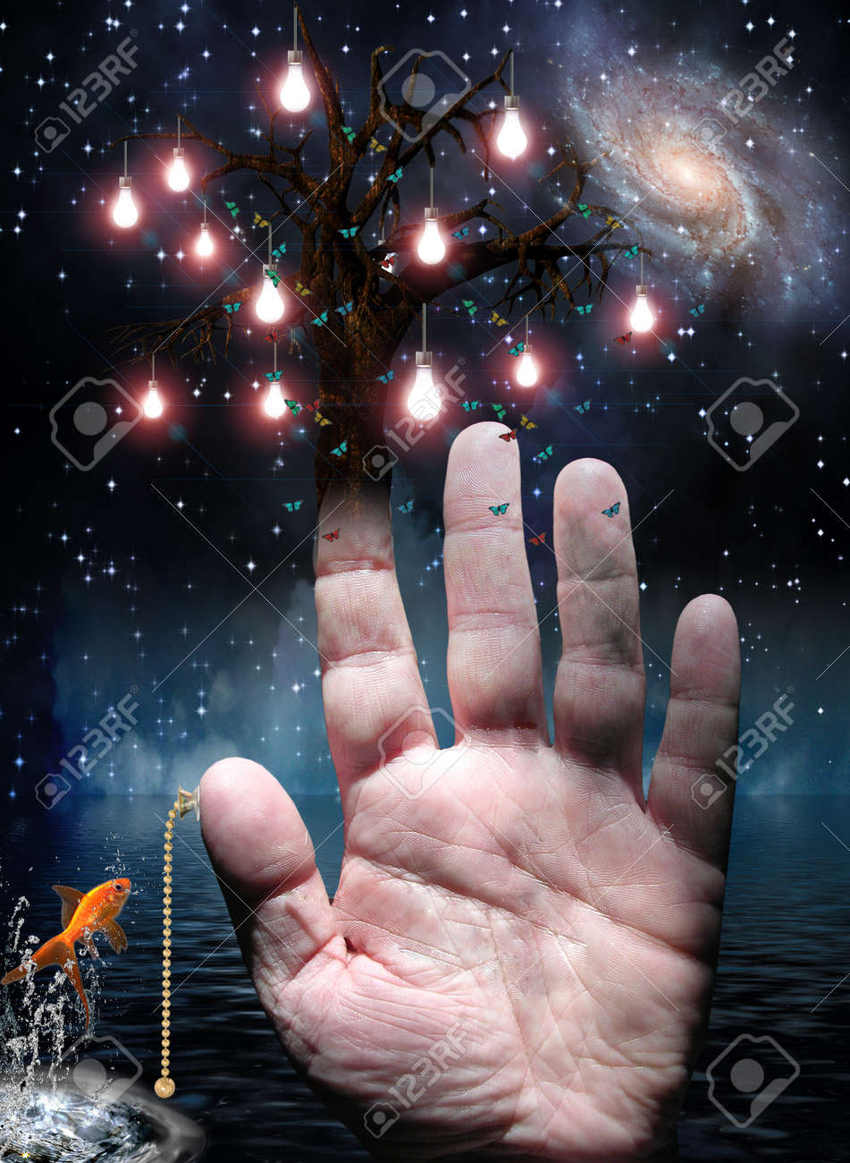 Hand with tree of lights and pull switch Stock Photo - 11799985