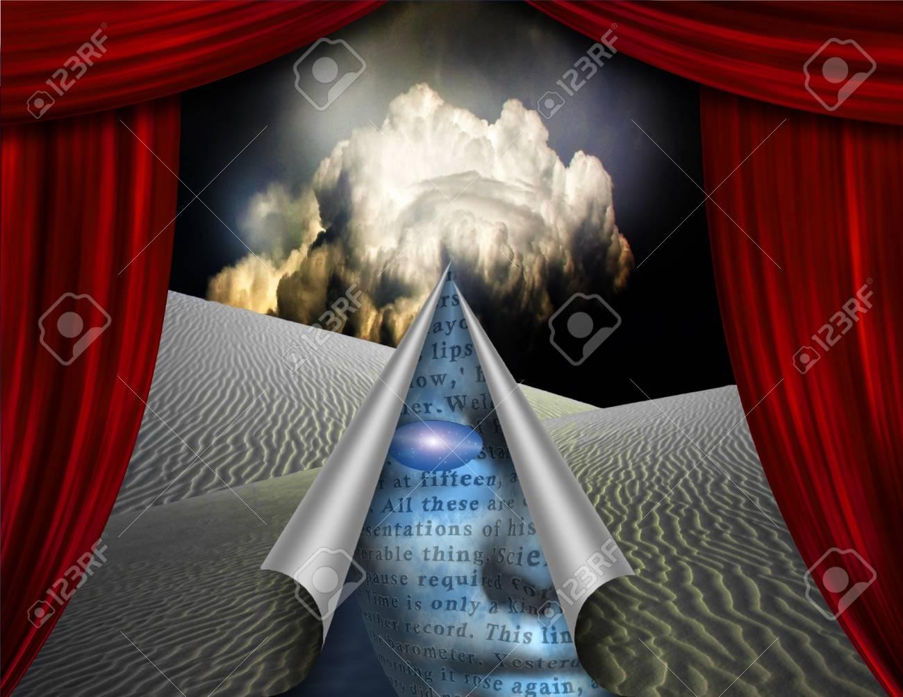 Desert curtain scene opened to another Stock Photo - 11956792
