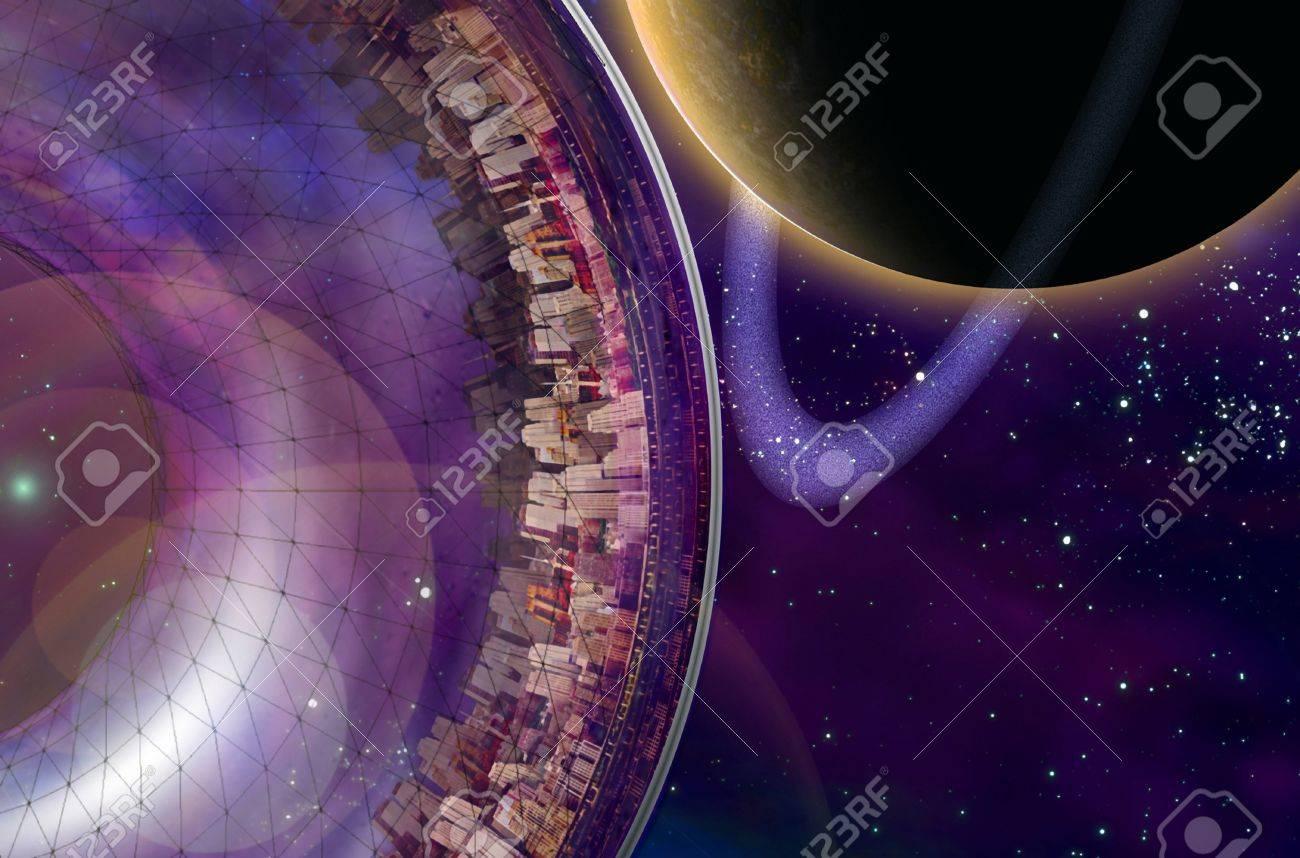 Large interstellar city ship near ringed planet Stock Photo - 13613018