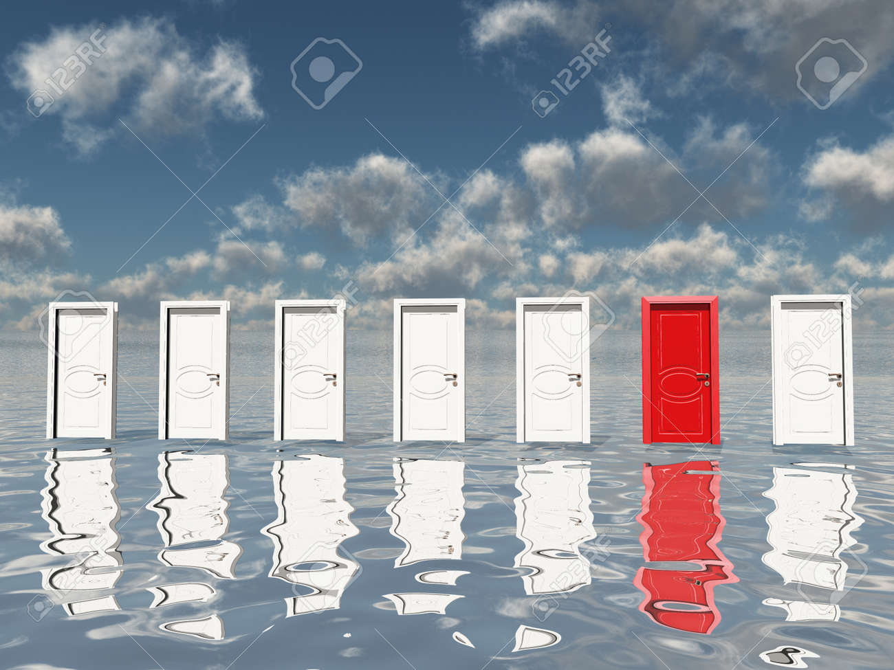 Sigle red door among several floating doorsin surreal landscape or silvery water and blue sky Stock  sc 1 st  123RF.com : floating door - pezcame.com