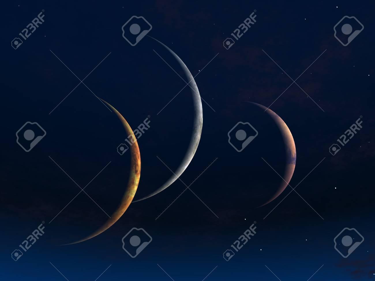 Three moons Stock Photo - 14063892