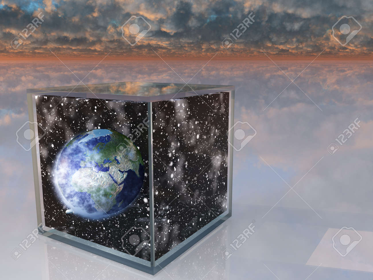 Planet eart and space inside box in surreal scene Stock Photo - 14934334