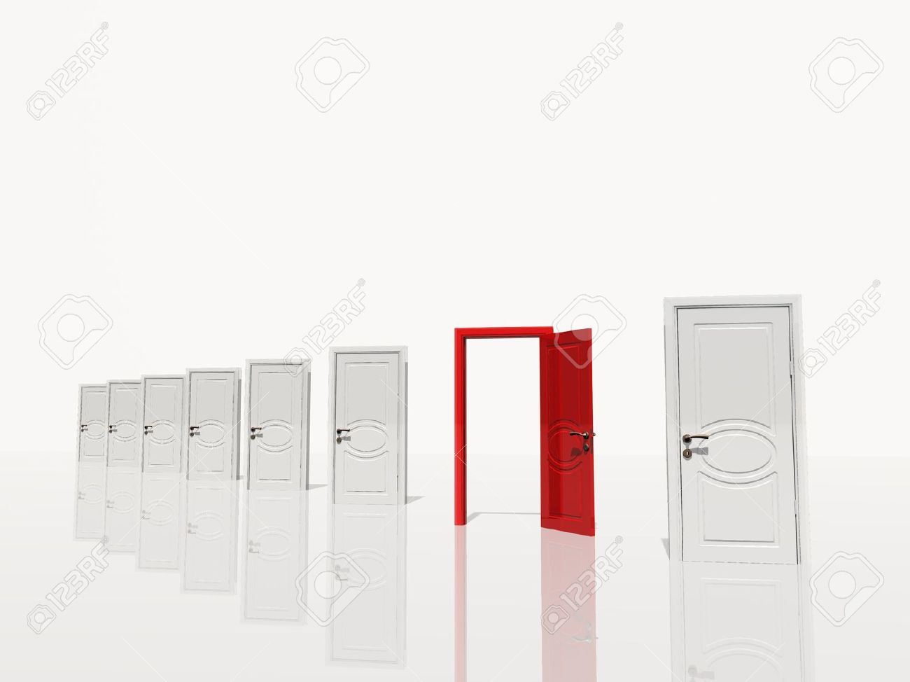 Sinigle open red door in of several white doors white space Stock Photo - 15488676