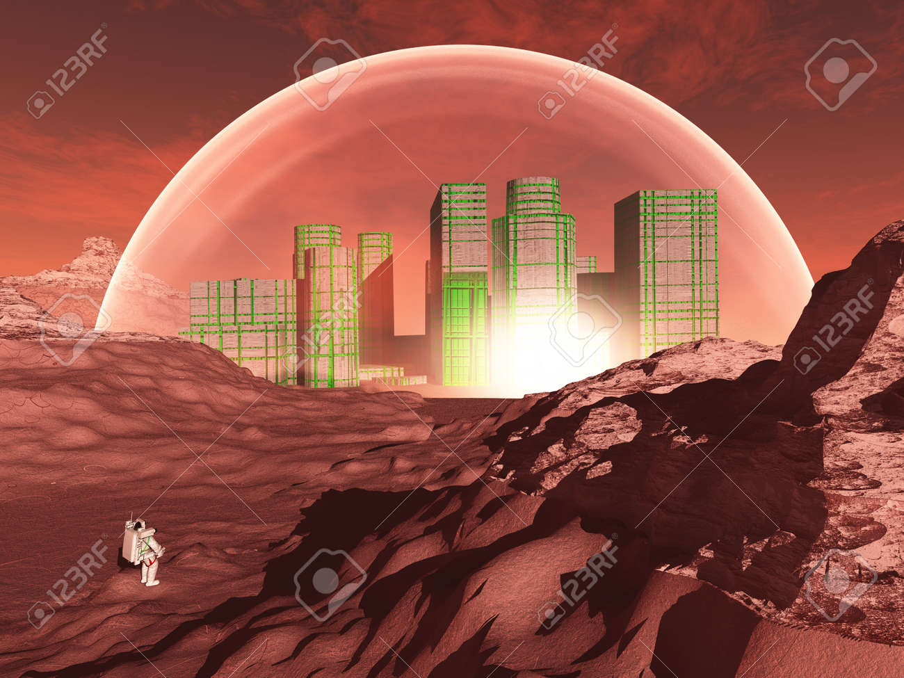 Domed city in inhospitable planet perhaps mars Stock Photo - 15488701