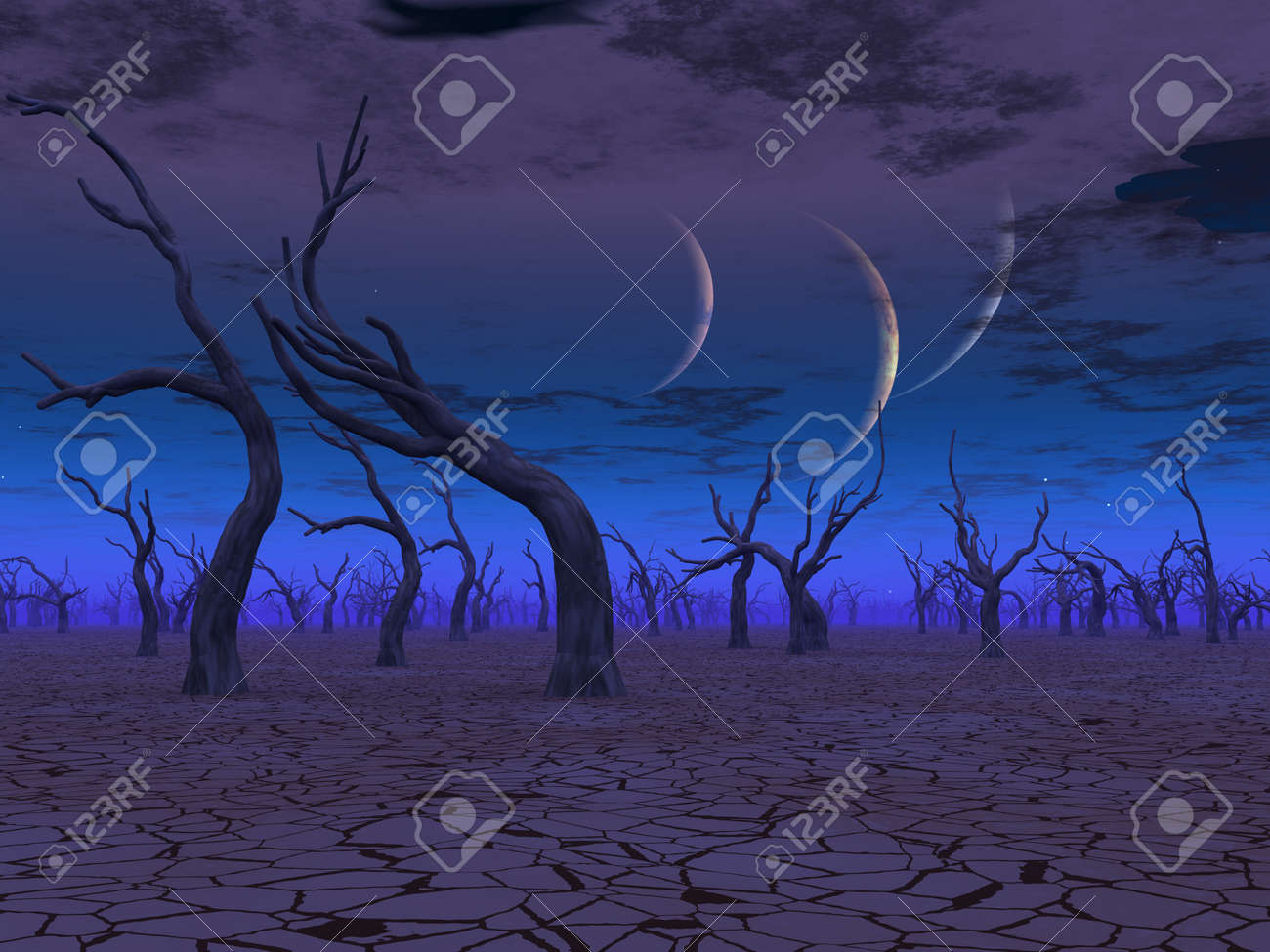Three planets rise over dead lands Stock Photo - 15536226