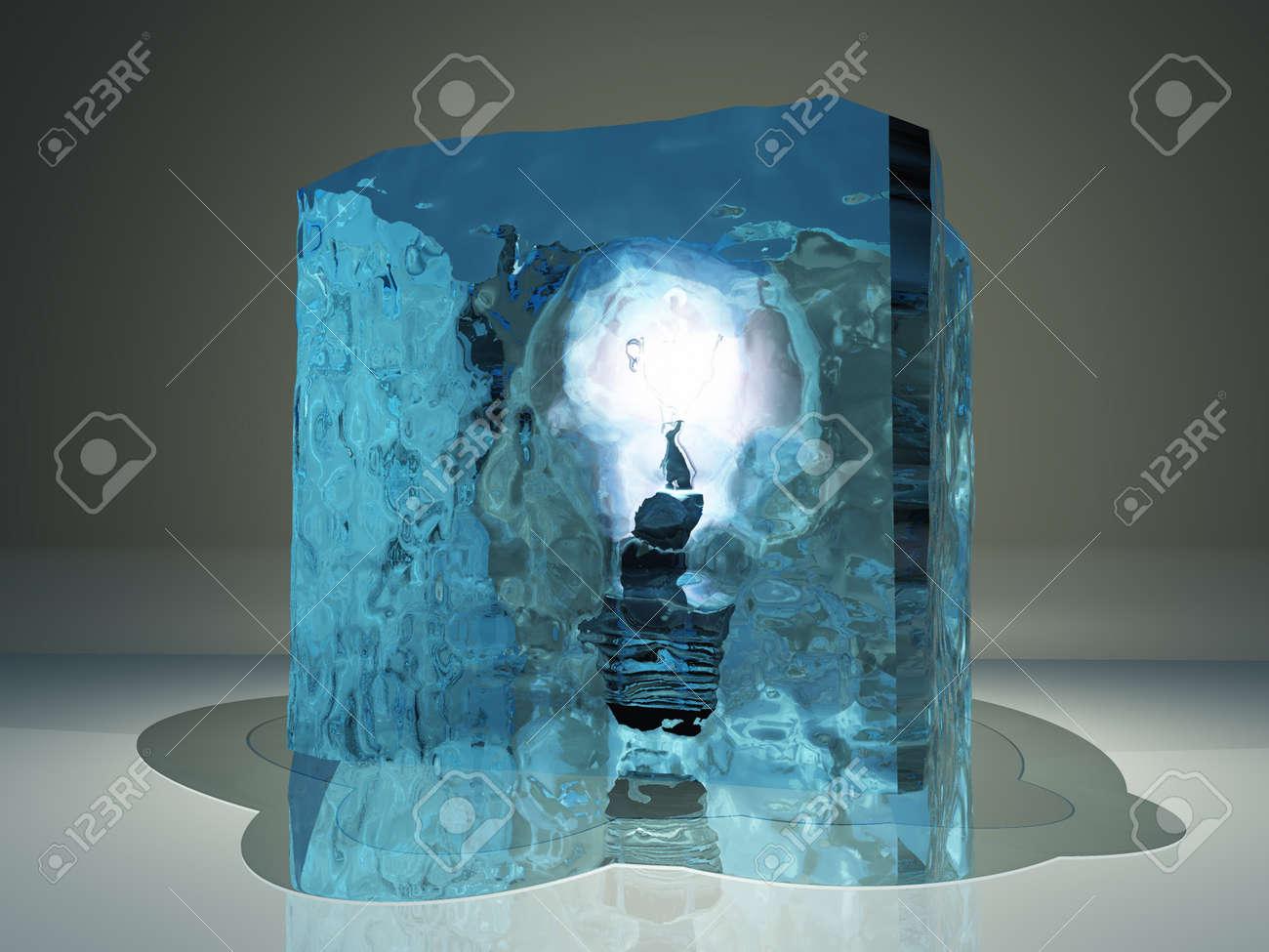 Light bulb frozen in ice Stock Photo - 16665979