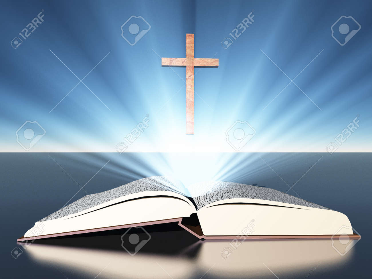 light radiates from bible under cross stock photo picture and