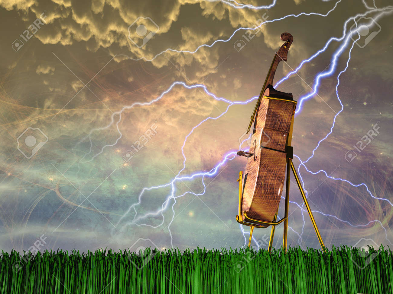 Cello in dream like landscape Stock Photo - 17183361