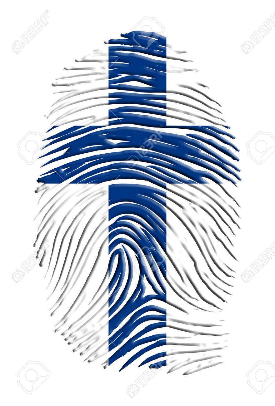 Finnish Flag superimposed upon fingewr print Stock Photo - 17183354