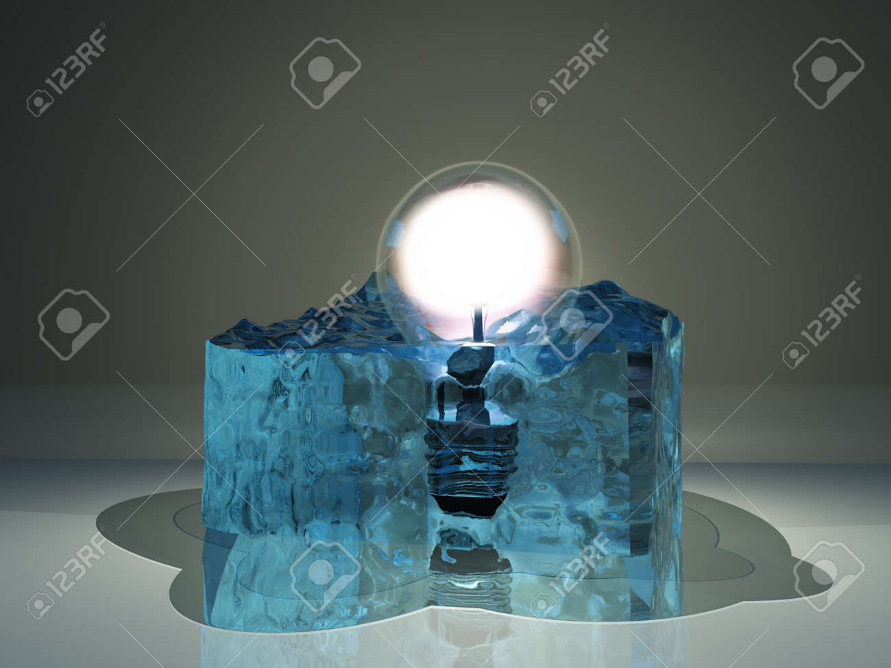 light bulb frozen in ice stock photo picture and royalty free image