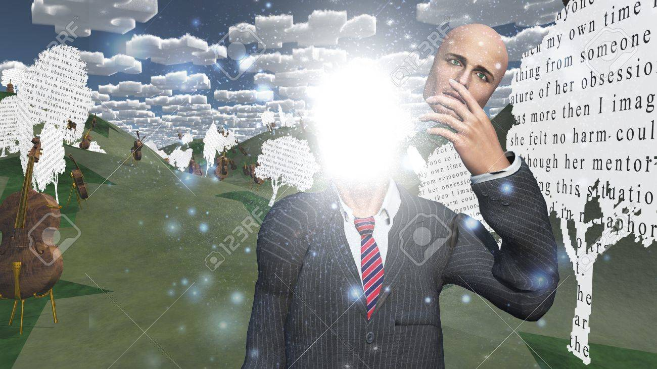 Man showing inner light in landscape with text paper trees Stock Photo - 17183360